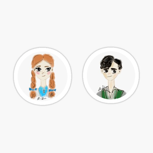 anne and gilbert watercolor characters Sticker