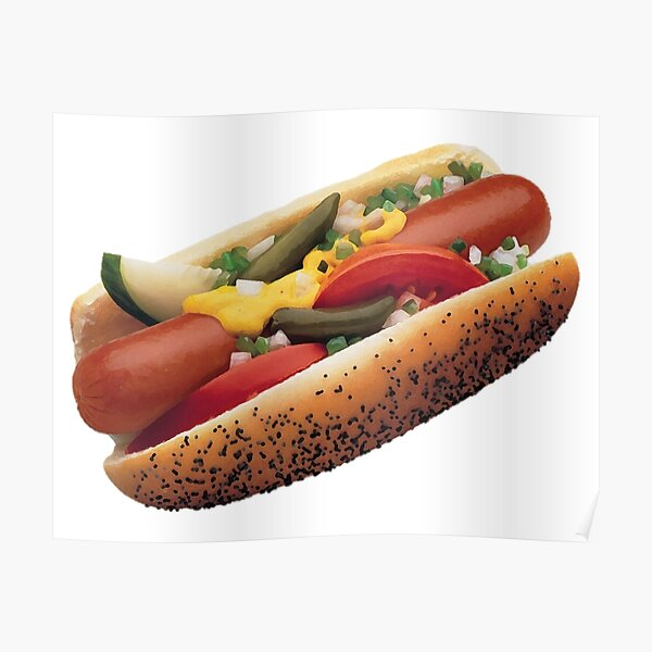 Chicago Style Hot Dog Artistic Drawing Poster