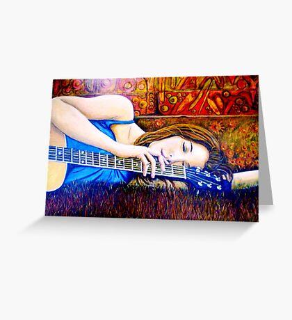 Guitar Girl in Landscape Greeting Card