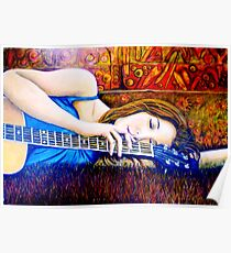 Guitar Girl in Landscape Poster