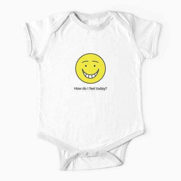 How do I feel today? Happy! Short Sleeve Baby One-Piece