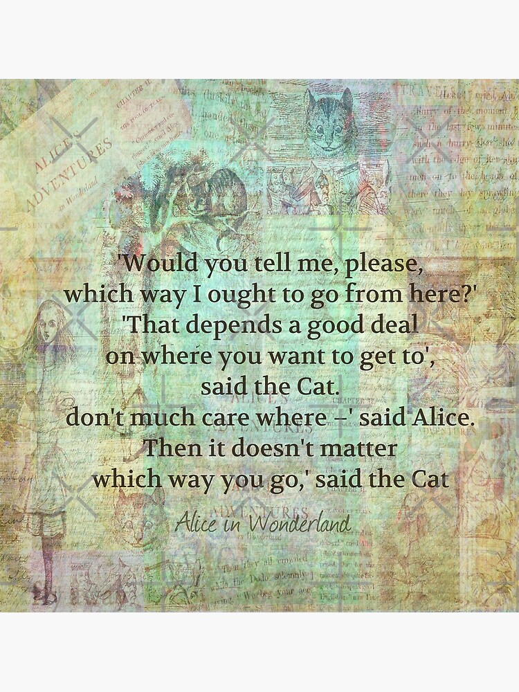 Alice In Wonderland Cheshire Cat Quote Greeting Card By Goldenslipper Redbubble