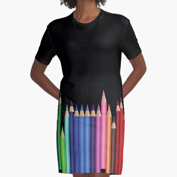 Teacher and art student colored pencils Graphic T-Shirt Dress