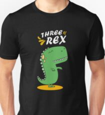 3rd Birthday Three Rex Shirt Funny Gift For Boy Slim Fit T