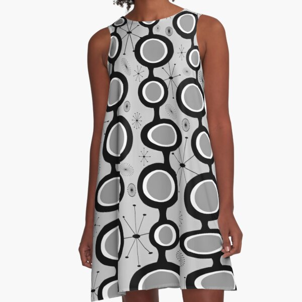 Gray Atomic Age Art - Mid Century Modern in Black & White A-Line Dress