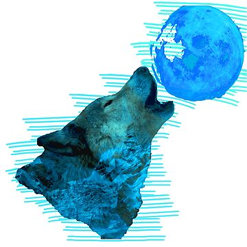 Double Exposure Cyan Wolf by SamiArtist