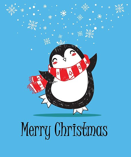 Merry Penguin Dancing in the Snow by DSeller