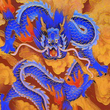 golden blue dragon by rhoadsette