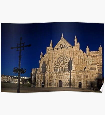 Exeter Cathedral & Crucifix Poster