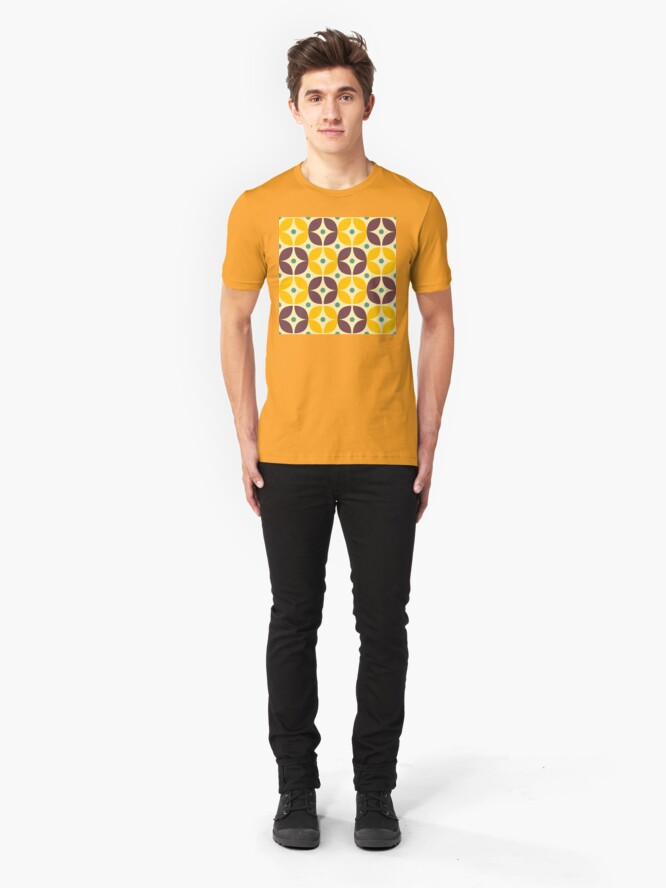 Alternate view of Geometric Pattern: Stylised Flower: Veronica Slim Fit T-Shirt