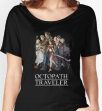 Octopath Traveler® - Travelers & Logo (White) Women's Relaxed Fit T-Shirt