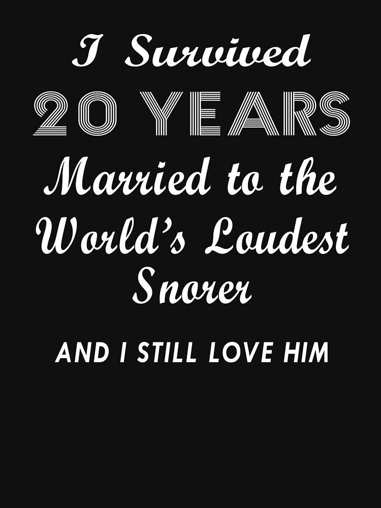 Womens Funny Snoring T Shirt 20th Wedding Anniversary Gift Wife Tee