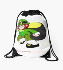Pixel Leprechaun Drawstring Bag