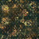 Diamond Rose Pattern - Turquoise Gold by a-ka-neArt