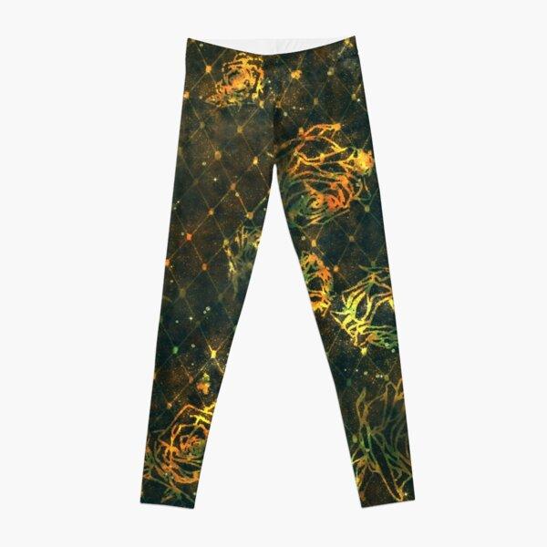 Diamond Rose Pattern - Turquoise Gold Leggings