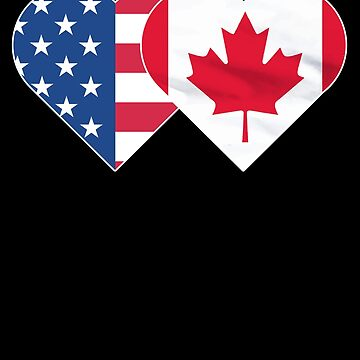 CANADA USA Flag Twin Heart T Shirt for Canadian Americans by chihai