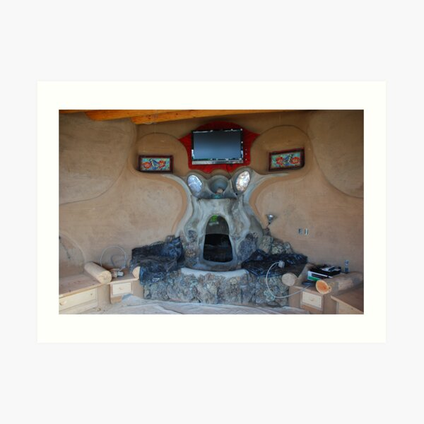 Earthship fireplace Art Print