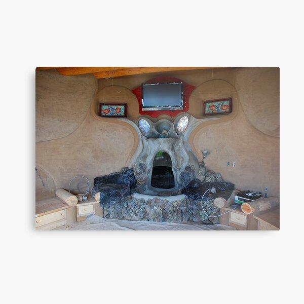 Earthship fireplace Metal Print