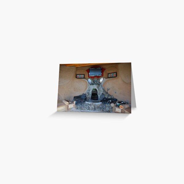 Earthship fireplace Greeting Card