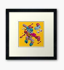 retro robot in style Framed Print