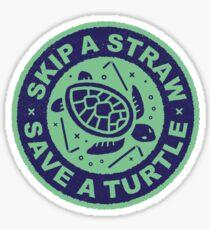 Skip A Straw Save A Turtle - Love Turtles Logo Sticker