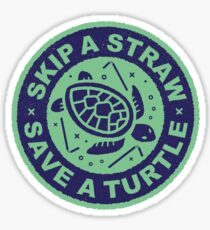 Skip A Straw Save A Turtle - Love Turtles Logo Sticker