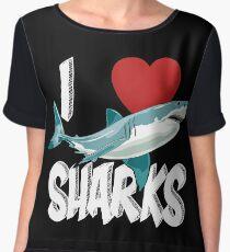 I Love Sharks Cute Novelty  Week of the Shark Gift Idea For Shark Lovers Graphic Shark Chiffon Top
