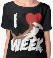 I Love The Week Of Sharks Cute Novelty Gift Idea For Shark Lovers Graphic Hammerhead Shark Chiffon Top