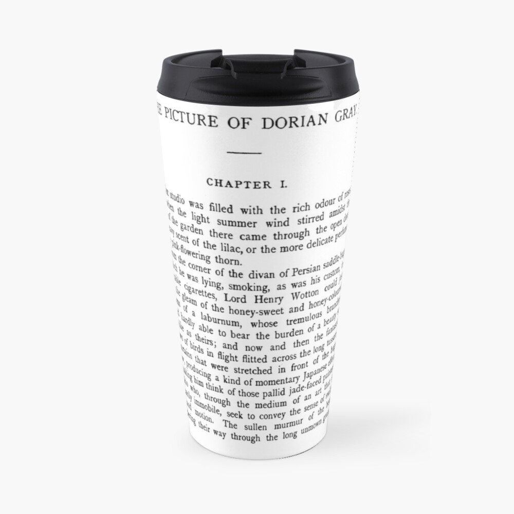 The Picture of Dorian Gray by Oscar Wilde first page Travel Mug