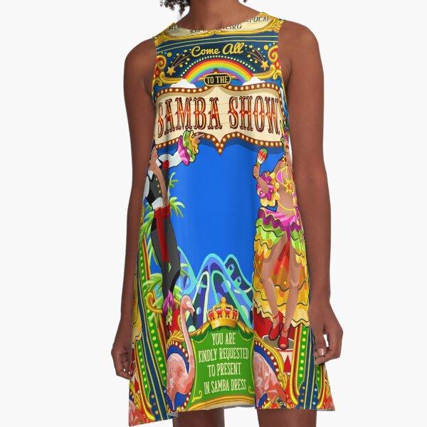 Rio Carnival Poster Invite Brazil Carnaval Mask Show Parade A-Line Dress