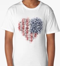 American flag in particles with black background Long T-Shirt