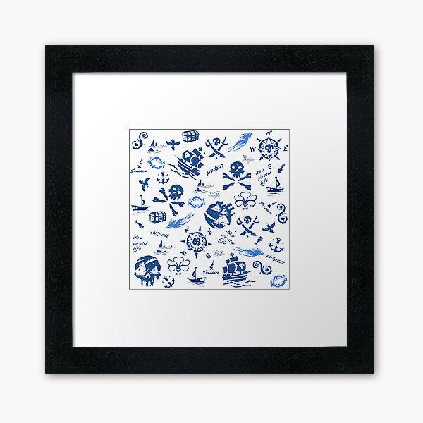 skulls, ships, sharks and sea Framed Art Print