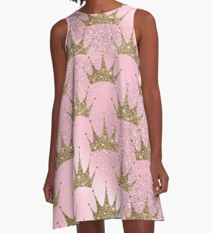 Mermaid Unicorn Pink Glitter Gold Crown Oriental A-Line Dress