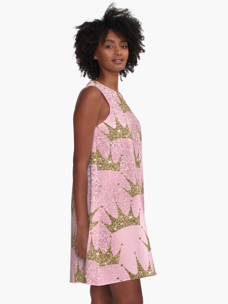 Alternate view of Mermaid Unicorn Pink Glitter Gold Crown Oriental A-Line Dress