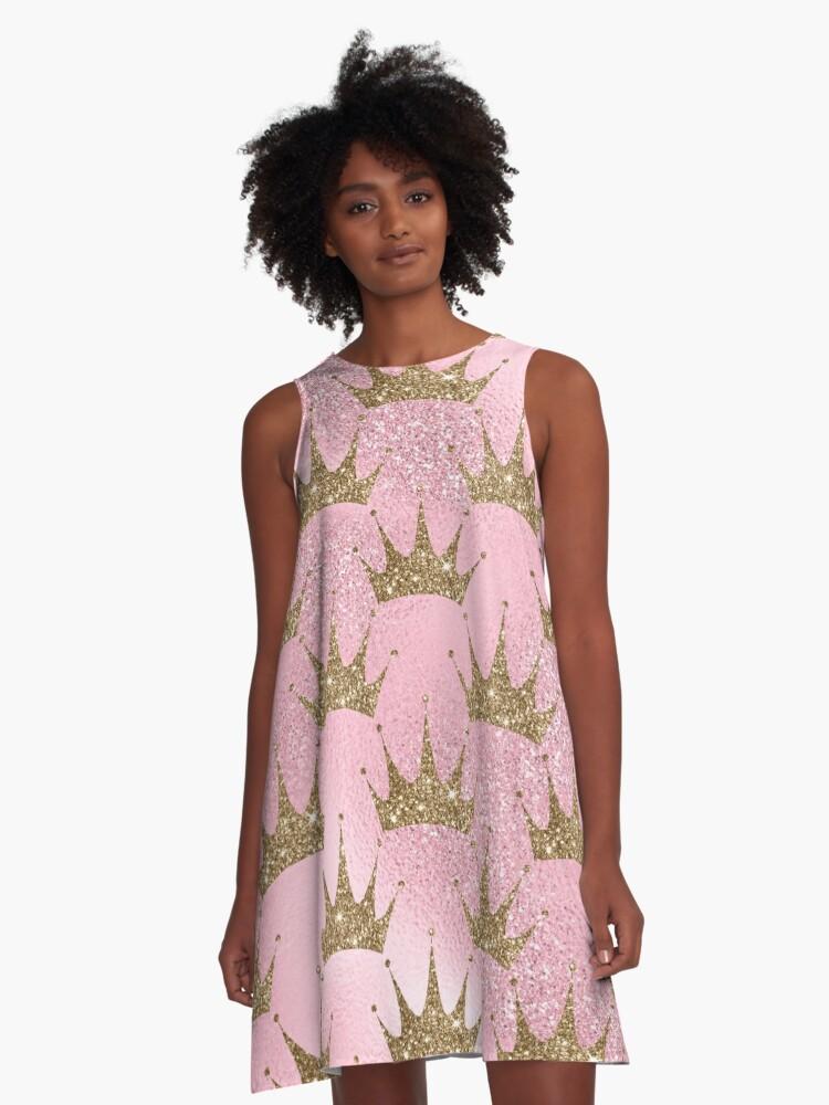 Mermaid Unicorn Pink Glitter Gold Crown Oriental A-Line Dress Front