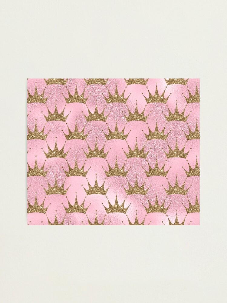 Alternate view of Mermaid Unicorn Pink Glitter Gold Crown Oriental Photographic Print