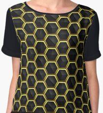 Abstract hexagonal background golden dark geometric seamless luxury pattern Chiffon Top