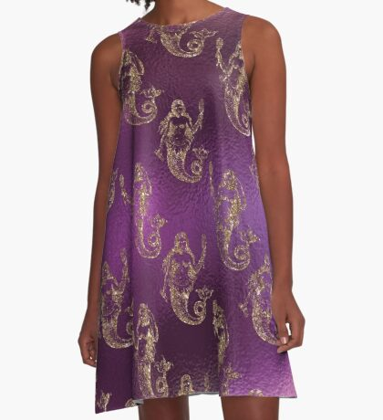Mermaid Glitter Gold Ocean Sea Purple Pink A-Line Dress