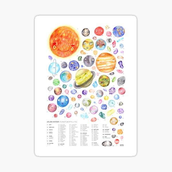 El sistema solar: planetas y satélites  Pegatina