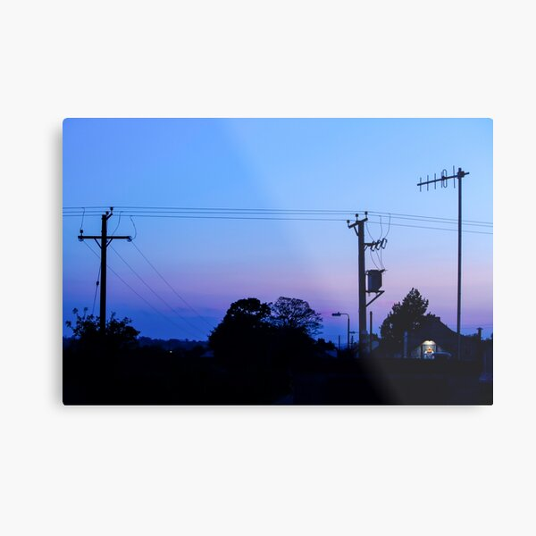 Sunset Power Lines Metal Print
