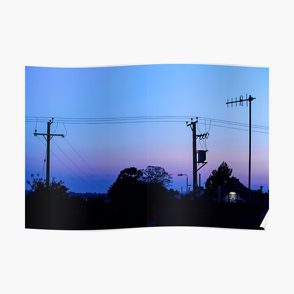 Sunset Power Lines Poster