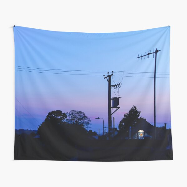 Sunset Power Lines Tapestry