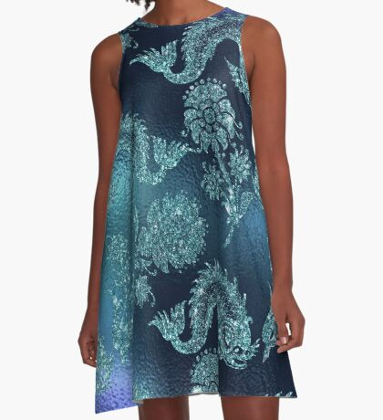 Mermaid Koi Carp Fish Oriental Peony Glitter Sea A-Line Dress