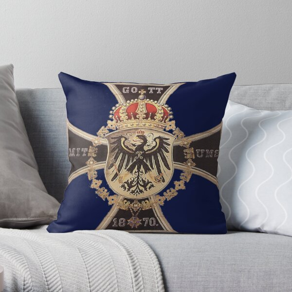 German 1870 Gott mit Uns Iron Cross Throw Pillow
