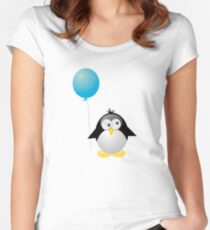 Penguin with Blue Balloon Women's Fitted Scoop T-Shirt