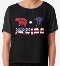 Funny Bear plus Barbeque Merica American Flag Blusa