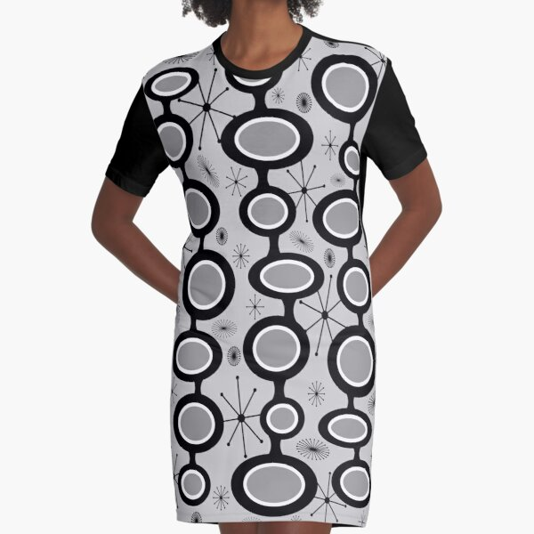 Gray Atomic Age Art - Mid Century Modern in Black & White Graphic T-Shirt Dress