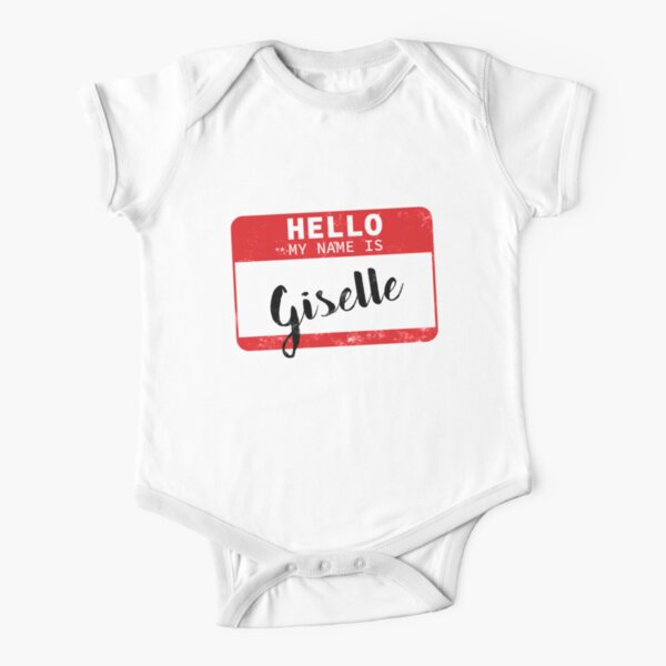 Hello My Name Is Giselle Name Tag Short Sleeve Baby One-Piece