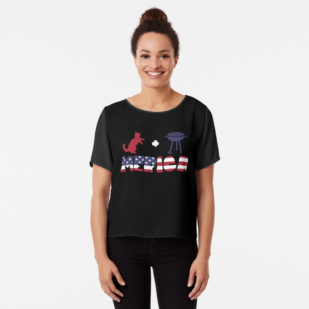 Funny Cat plus Barbeque Merica American Flag Blusa