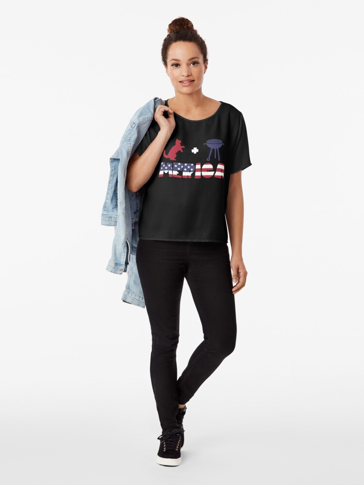 Vista alternativa de Blusa Funny Cat plus Barbeque Merica American Flag